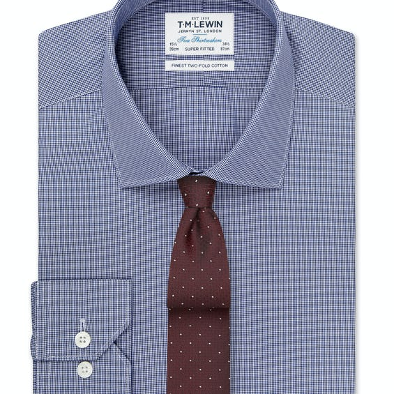 Super Fitted Navy Micro Check Shirt - Button Cuff 0