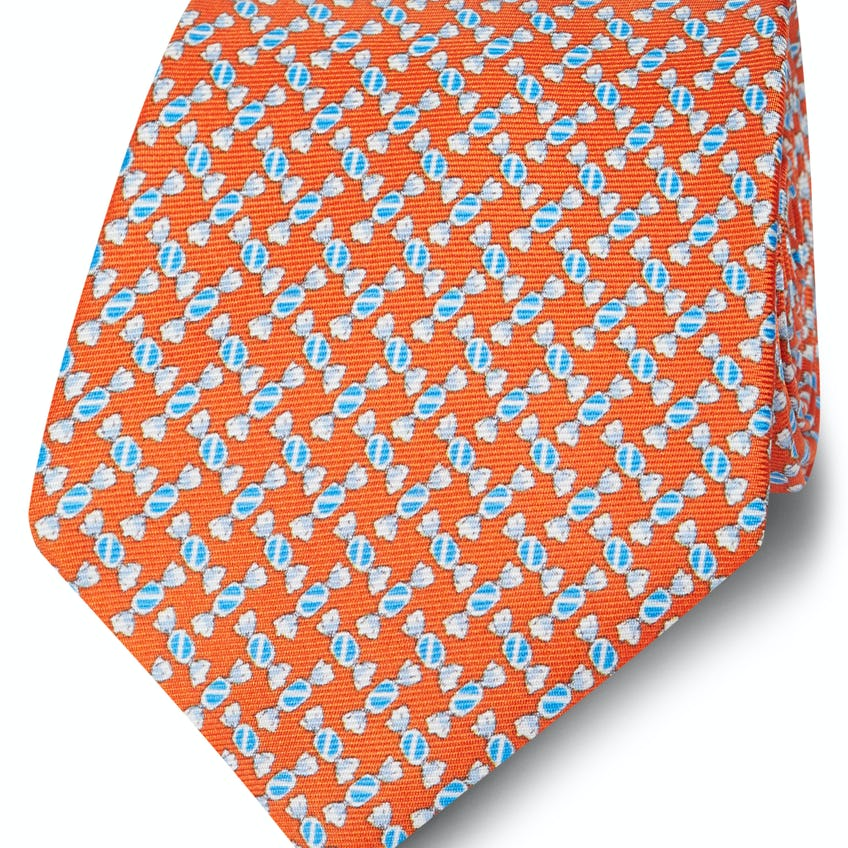 Made in Italy Wide Orange and Blue Sweetie Silk Tie 0