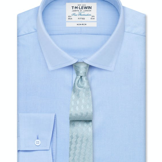 Non-Iron Sky Blue Twill Fitted Shirt 0