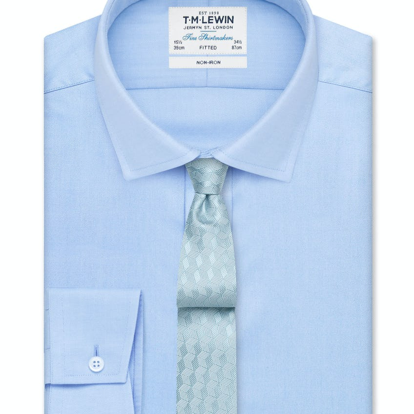 Non-Iron Sky Blue Twill Fitted Shirt