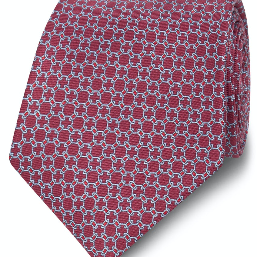 Printed Burgundy and Blue Chain Link Silk Wide Tie 0