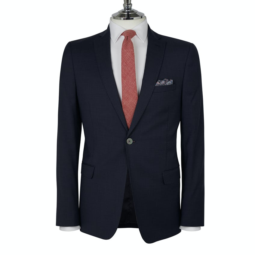 Finchley Power Stretch Skinny Fit Blue Textured Pin Dot Jacket 0