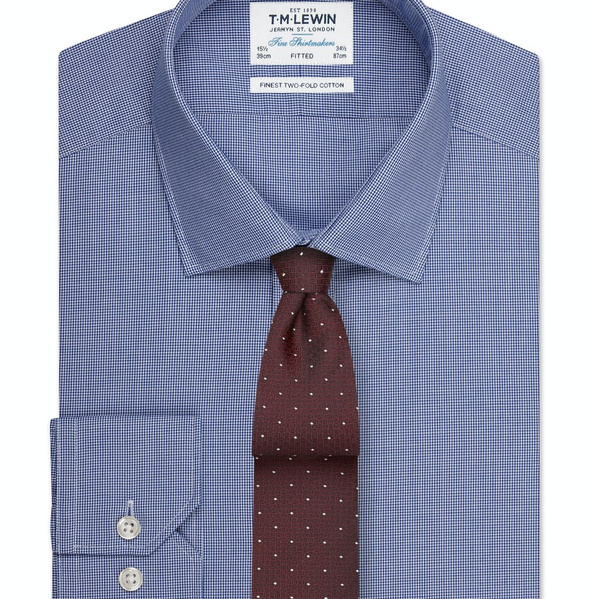 Fitted Navy Fine Check Shirt – Button Cuff 0