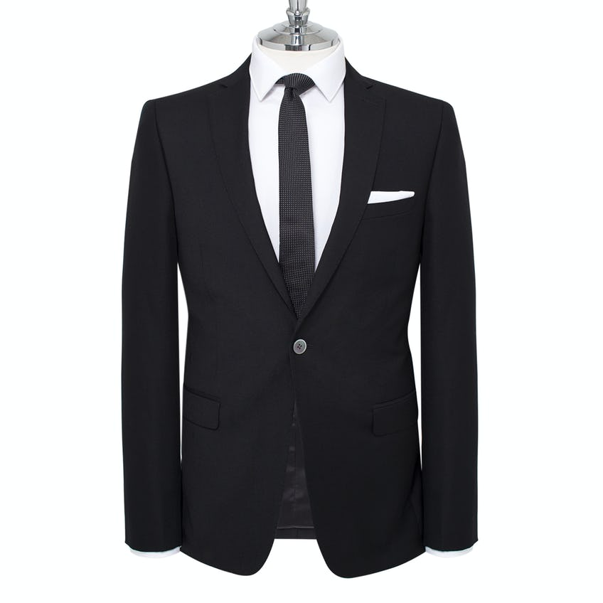 Theo Skinny Fit Black Perceived Textured Jacket 0