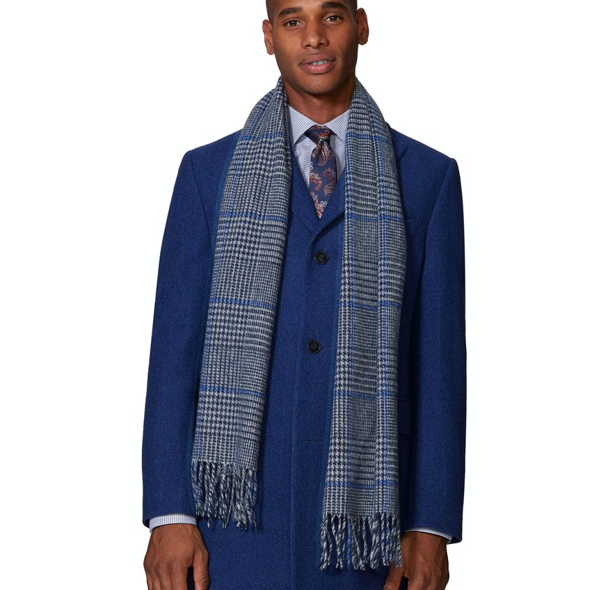 Grey and Blue Prince of Wales Check Wool Scarf 0