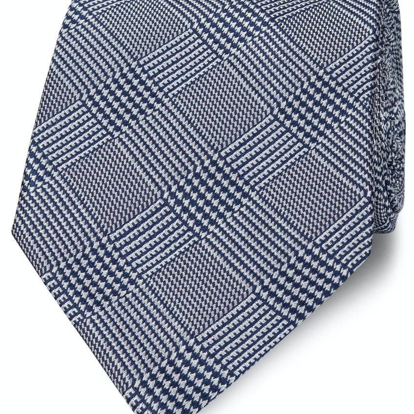 Wide Navy Prince of Wales Check Silk Tie 0