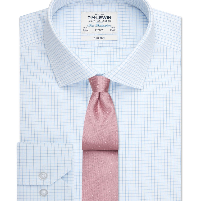 Non-Iron Fitted Blue Check Single Cuff Shirt 0