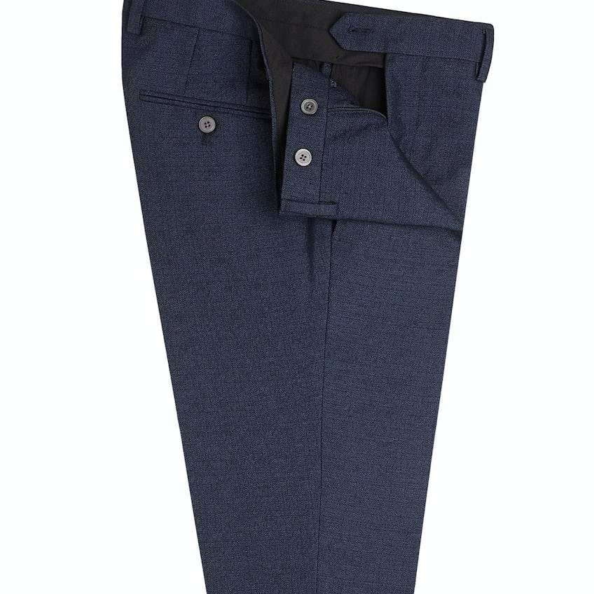 Clapton Skinny Fit Navy Textured Trousers 0