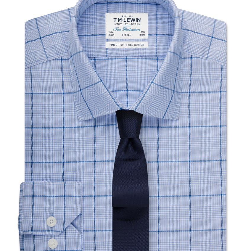 Fitted Navy Sky Overcheck Shirt 0