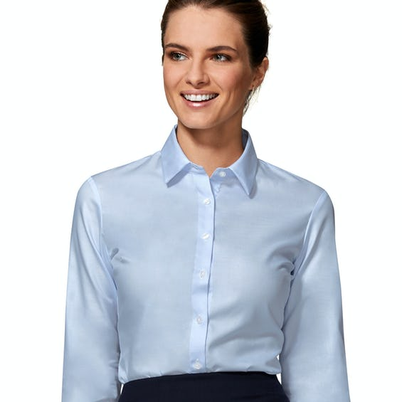 Fitted Blue Twill Double Cuff Shirt 0