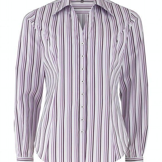 Fitted Lilac Stripe Open Neck Shirt 0