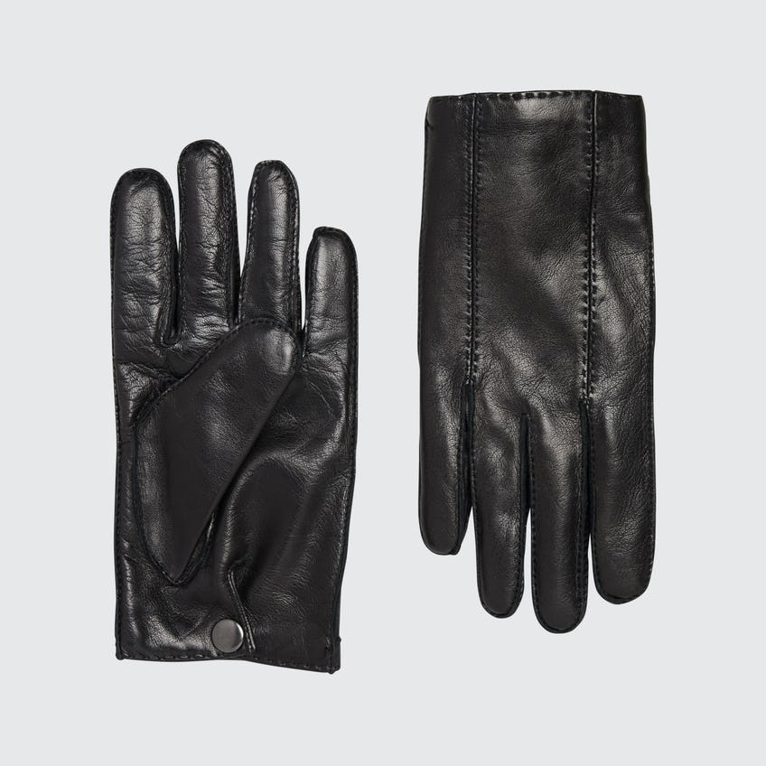 Luxury Italian Leather Black Cashmere-Lined Gloves 0
