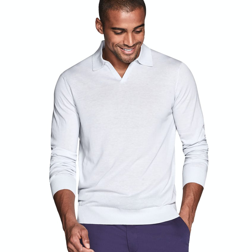 Slim Fit Grey Cotton Silk Knitted Polo 0
