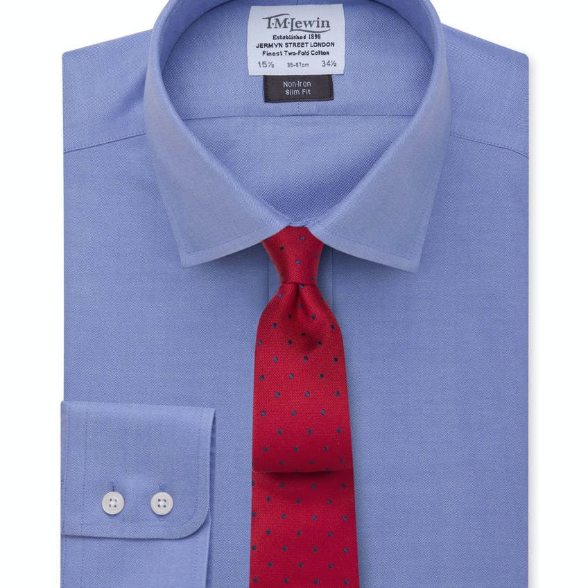 Non-Iron Slim Fit Blue Herringbone Shirt