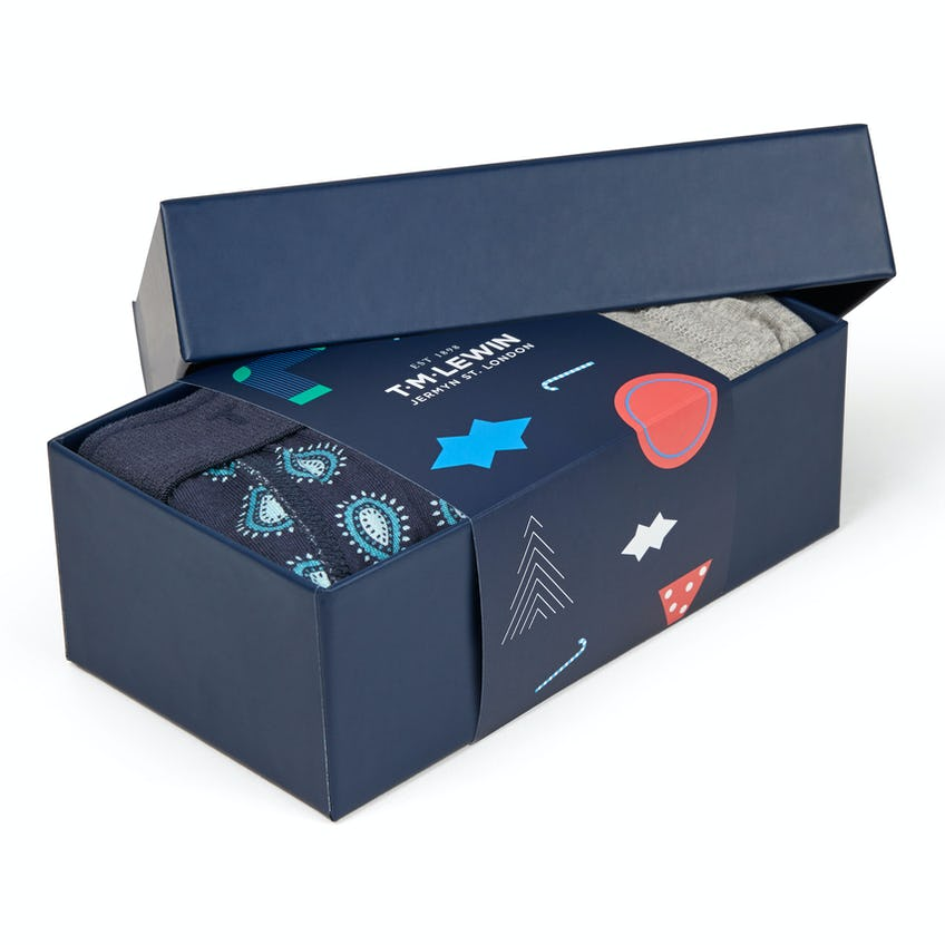 Grey and Paisley Jersey Boxer 2-pack Gift Box 0
