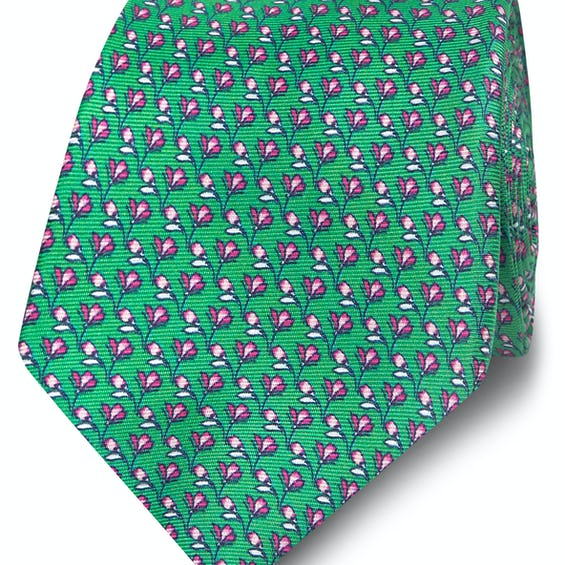 Wide Green and Pink Floral Print Silk Tie 0