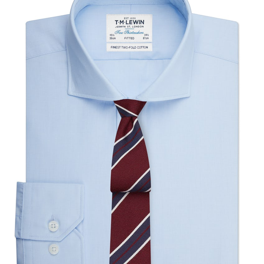 Fitted Light Blue End-on-End Cutaway Collar Shirt 0
