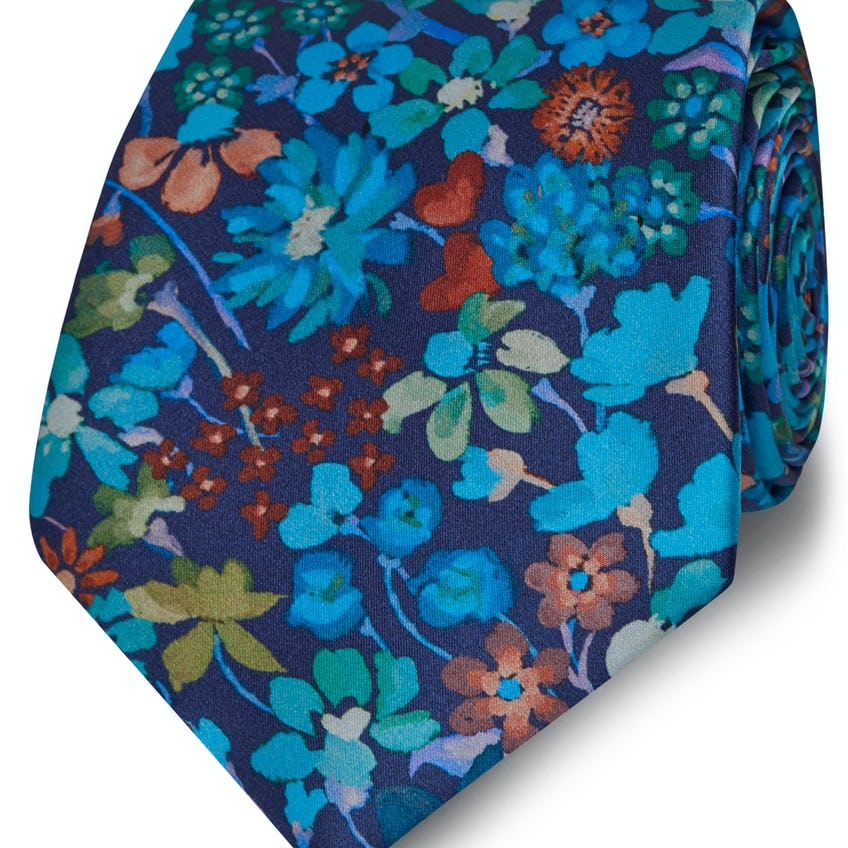 Made with Liberty Fabric Wide Blue Dreams of Belgravia Print Silk Tie 0