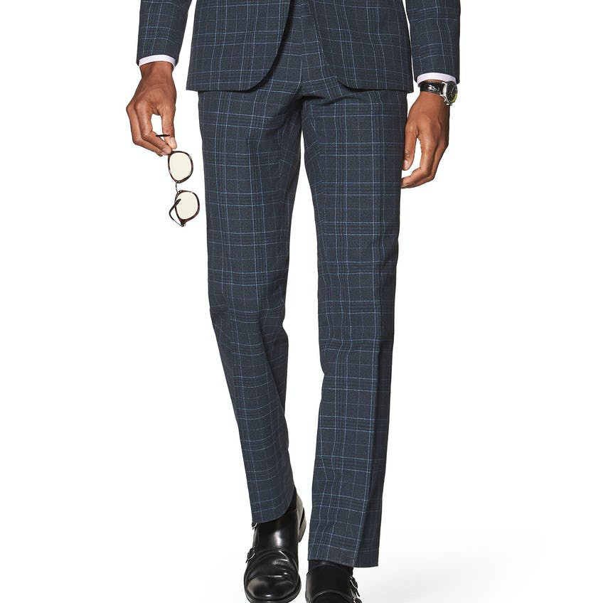 Sutherland Designed in Biella Slim Fit Navy Check Trousers 0