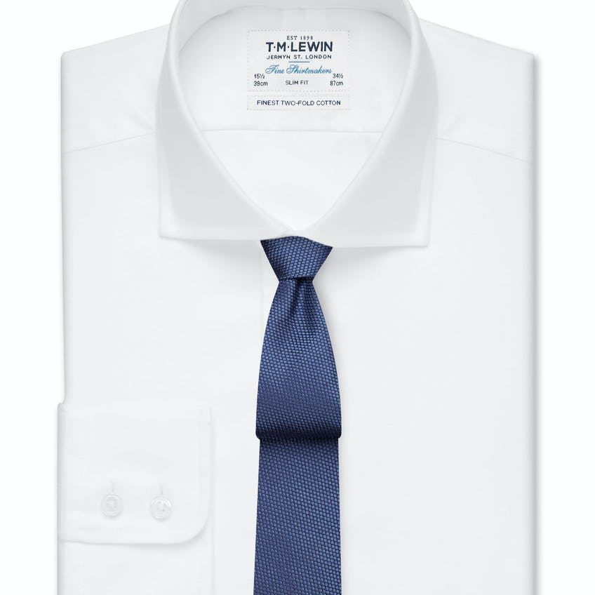 Slim Fit White Twill Cutaway Collar Shirt