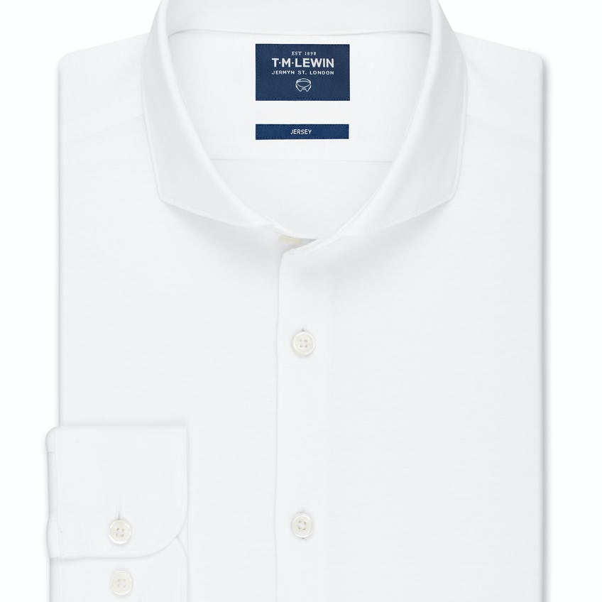 Pique Jersey Fitted Plain White Shirt