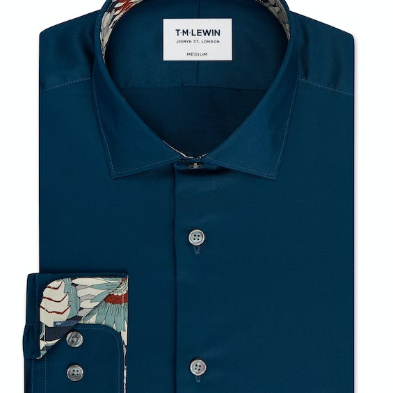 Slim Fit Navy Single Cuff Shirt Made with Liberty Fabric Trim 0