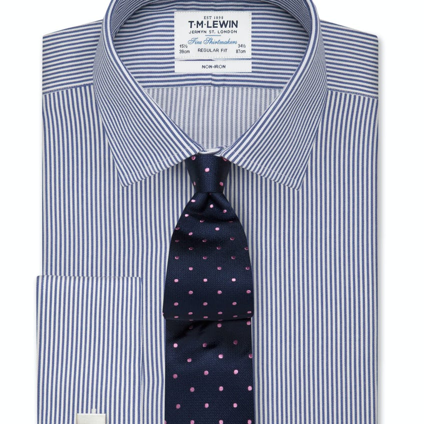 Non-Iron Navy Bengal Stripe Regular Fit Double Cuff Shirt