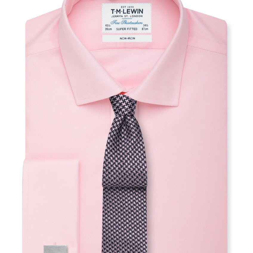 Non-Iron Pink Twill Double Cuff Super Fitted Shirt 0