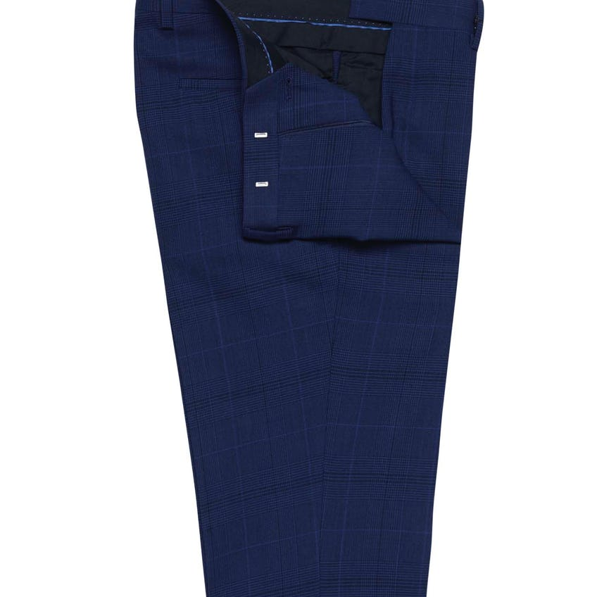 Foxtail Slim Fit Blue Check Trousers 0
