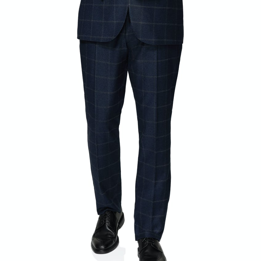 Jubilee Wool Silk Cashmere Slim Fit Navy and Beige Check Trousers 0