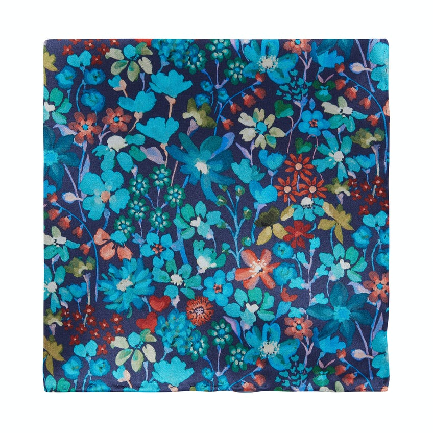 Made with Liberty Fabric Blue Dreams of Belgravia Print Pocket Square 0