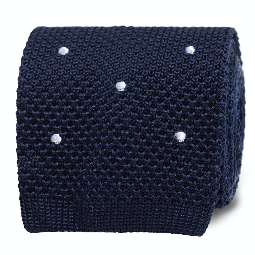 Southgate Navy White Spot Knitted Silk Tie 0