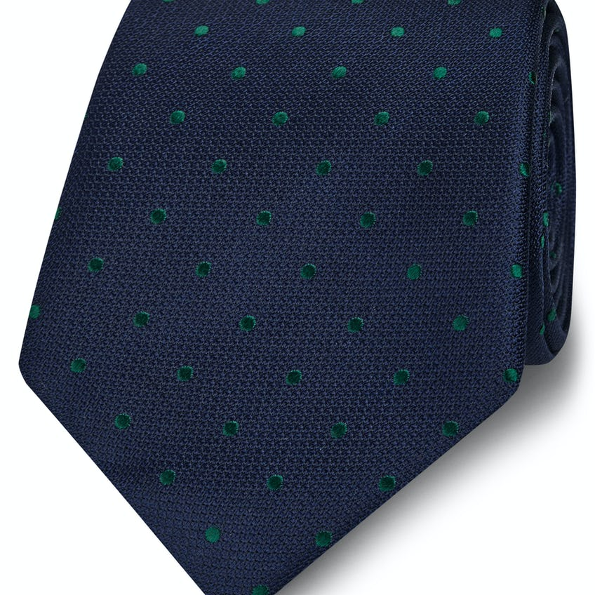 Wide Navy and Green Spot Silk Tie 0