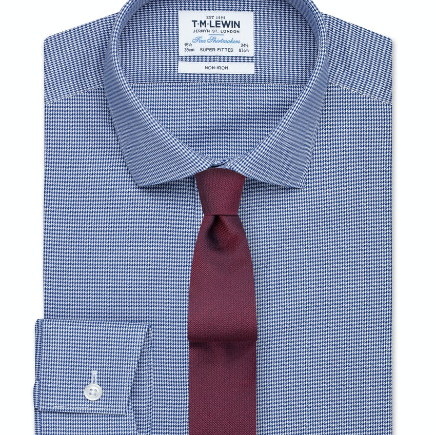 Non-Iron Super Fitted Navy Micro Dogtooth Twill Shirt – Button Cuff 0