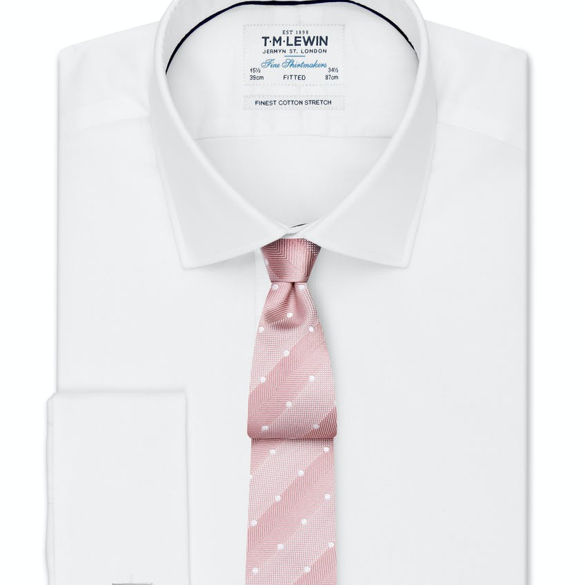 Stretch Cotton Fitted White Double Cuff Shirt 0