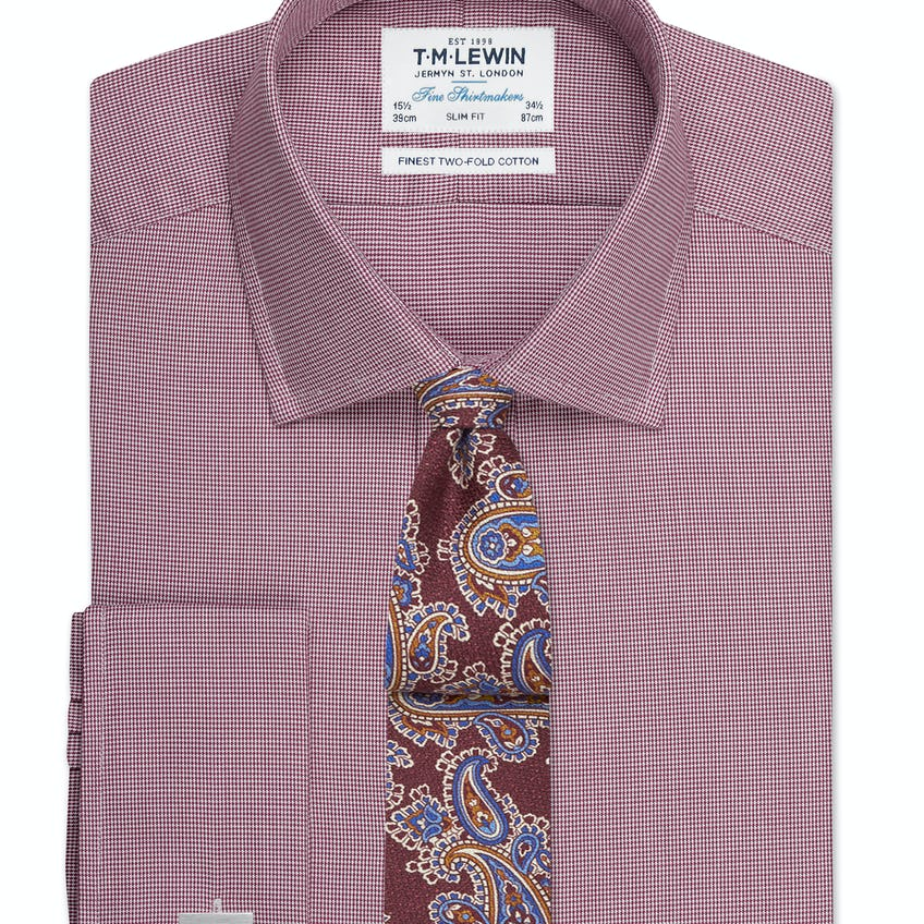 Slim Fit Burgundy Micro Dogtooth Shirt – Double Cuff 0