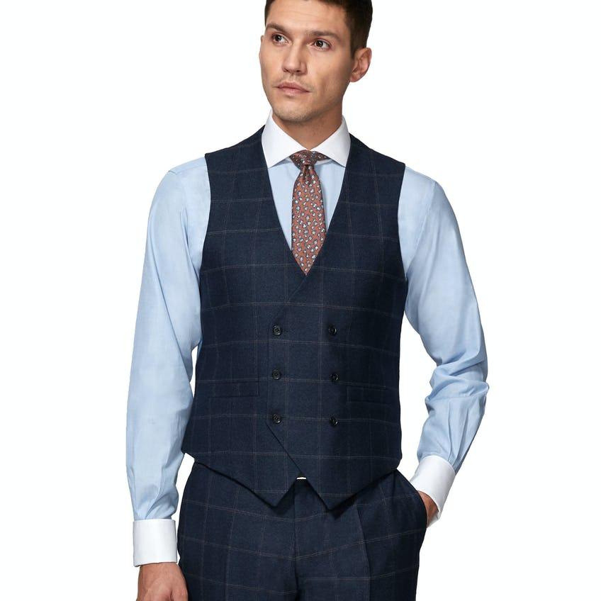Jubilee Wool Silk Cashmere Slim Fit Navy and Beige Check Waistcoat 0
