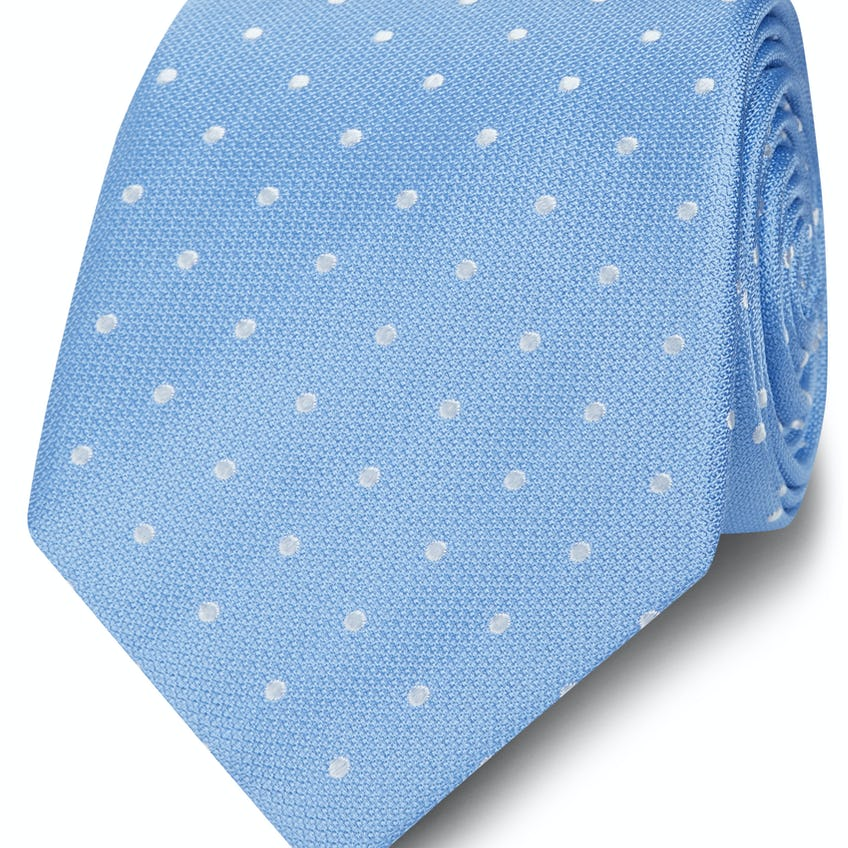 Wide Blue and White Spot Silk Tie 0