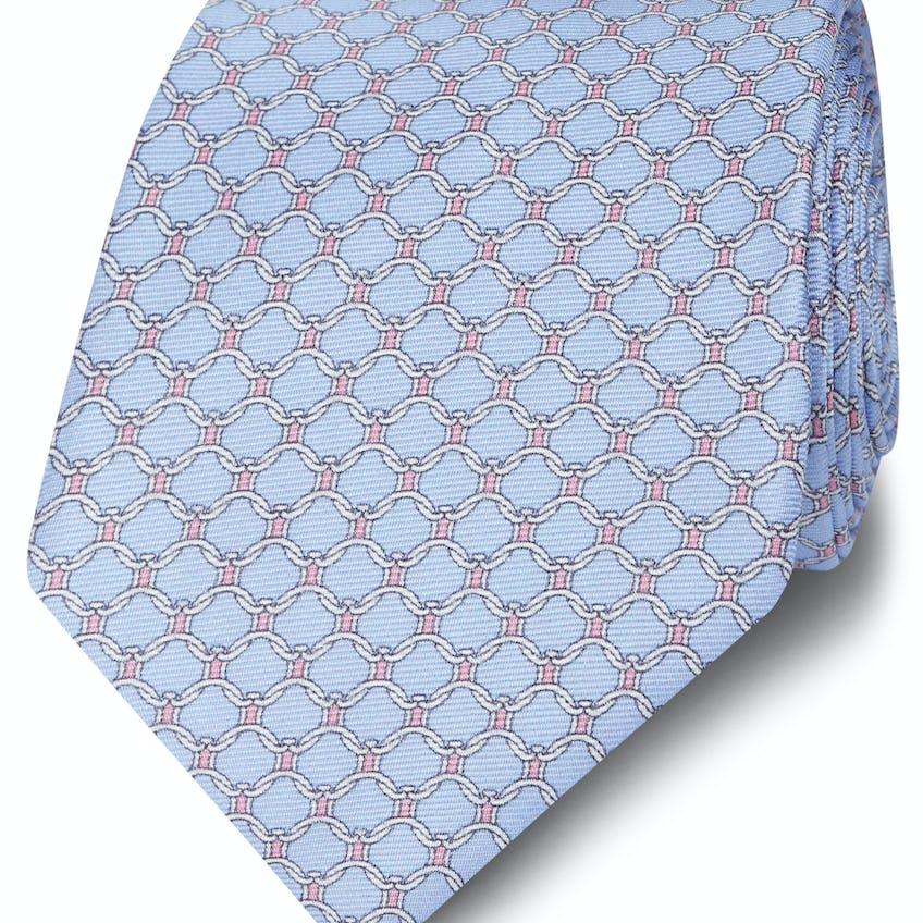 Made in Italy Wide Blue, Pink and White Chain Link Silk Tie 0