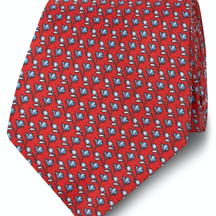 Wide Red and Blue Floral Print Silk Tie 0