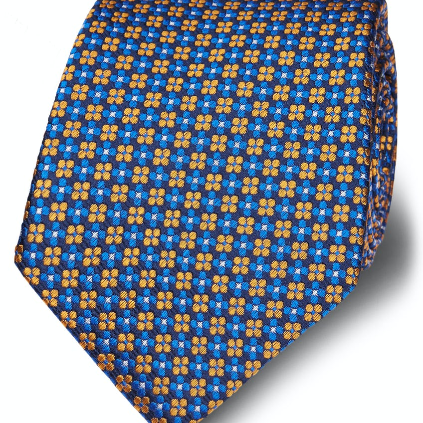 Yellow and Blue Floral Jacquard Silk Wide Tie 0