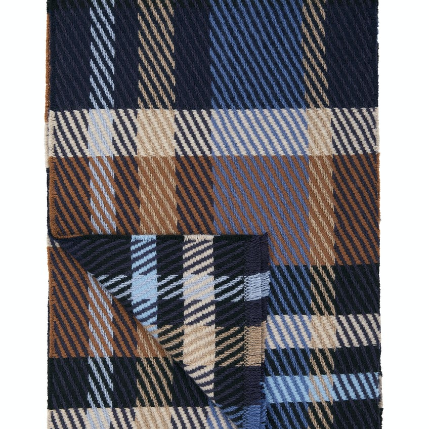 Navy and Brown Check Merino and Cashmere Scarf 0