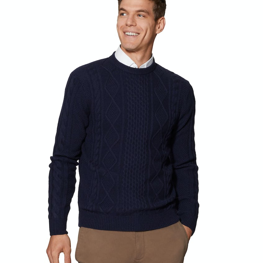 Skye Chunky Cable Knit Navy Slim Fit Jumper 0