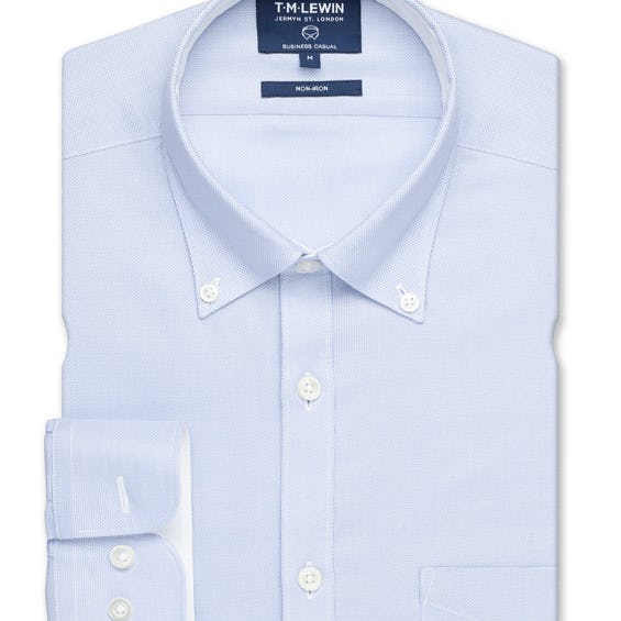 Non Iron Casual Slim Fit Light Blue Button Down Royal Oxford Shirt 0