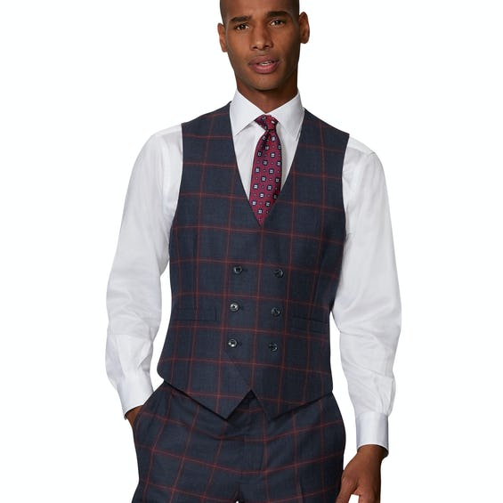 Dominion Statement Slim Fit Navy and Burgundy Check Waistcoat 0