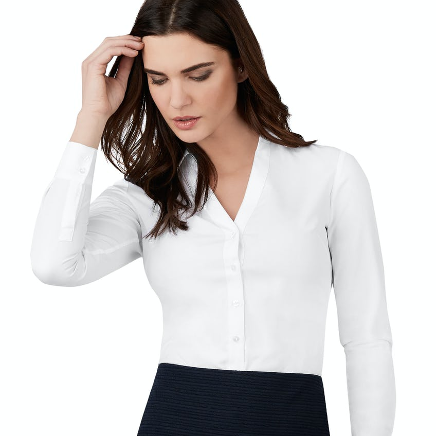 Fitted White Open Neck Shirt