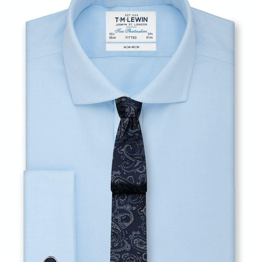 Non-Iron Blue Oxford Cutaway Collar Fitted Shirt 0