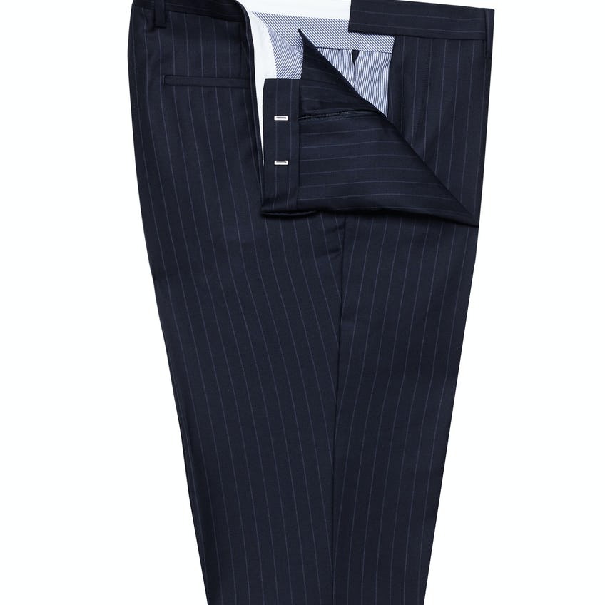 Spindle Slim Fit Navy Rope Stripe Trousers