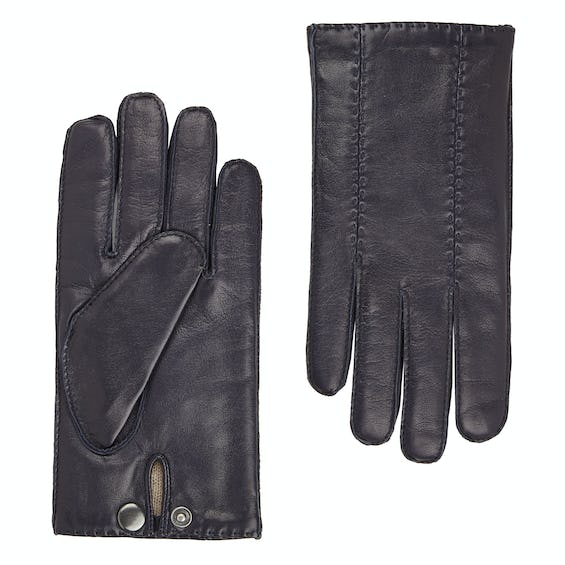 Navy Leather Gloves 0