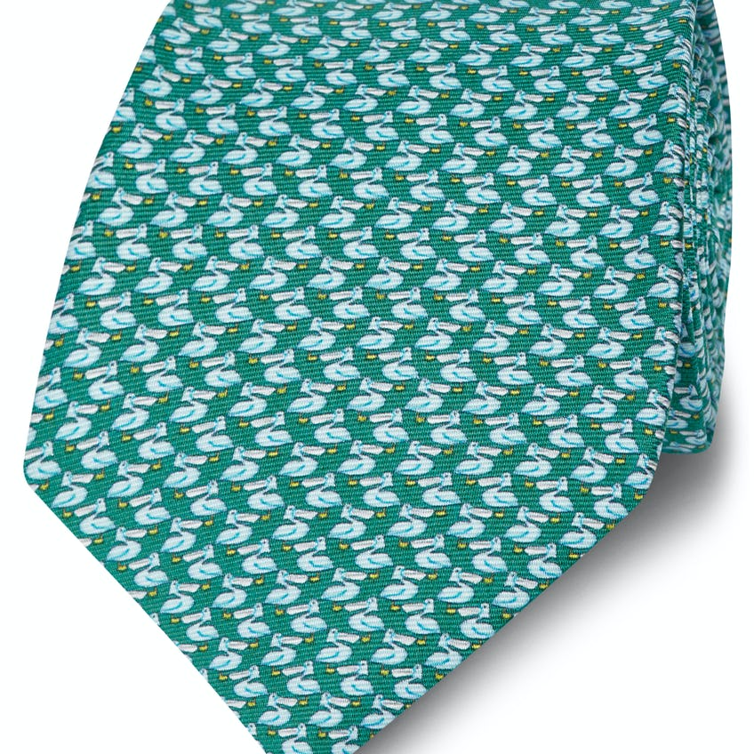 Made in Italy Wide Teal and Blue Pelican Silk Tie 0